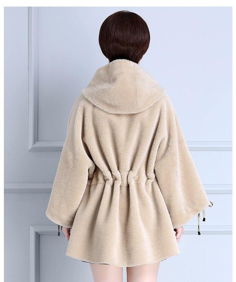 New Winter Warm Parka Real Fur Coat Women100% Wool Coats Long Hoody Sheap Shearing Overcoat Casaco Feminino LX2465