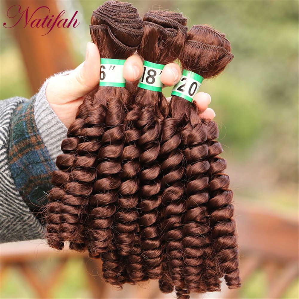 Natifah 16-20 Inch Synthetische Bouncy Krullend Haar Bundels Krullend Haar Uitbreiding Haar Weven Dubbele Inslag Golf Voor Vrouw afrikaanse