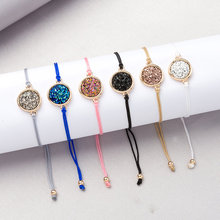 2019 Fashion Round Druzy Drusy Bracelet Faux Resin Druse Stone Adjustable Rope C