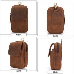 Image 4 - Flanker crazy horse leather men waist pack vintage small waist bag hook hip bag belt bag travel fanny pack with cell phone pouch