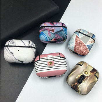 Marble Skin PU Leather Earphone Cases For Apple AirPods 1 2 Bluetooth Wireless Headset Cover For Airpods Pro 3 Protective Case image
