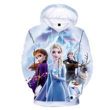 Disney Толстовка худи для девочек топы с изображением Эльзы