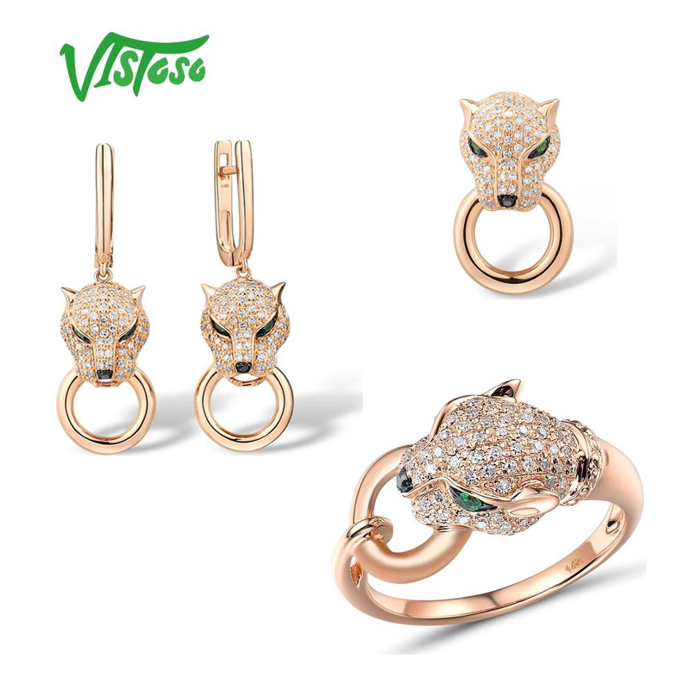 VISTOSO Jewelry Set For Woman Pure 14K 585 Rose Gold Leopard Emerald Sparkling Diamond Pendant Earrings Ring Set Fine Jewelry