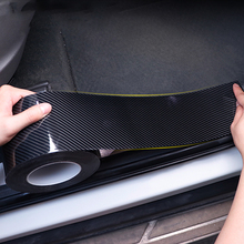 5D Carbon Fiber Car Door Sill Protector Bumper Stickers Car Wrap Film Gloss Automotive Wrap Film Self-Adhesive Anti-Collision