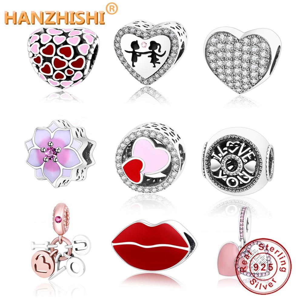 2018 Valentine's Day Fit Original Pandora Charms Bracelet DIY Jewelry 925  Sterling Silver Heart/Love/Lips/Pineapple Charm Beads