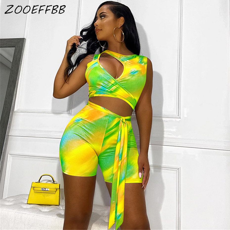 ZOOEFFBB Sexy Tie Dye Print Two Piece Set Summer Clothes For Women Crop Top And Biker Shorts Suits Matching Sets Club Outfits