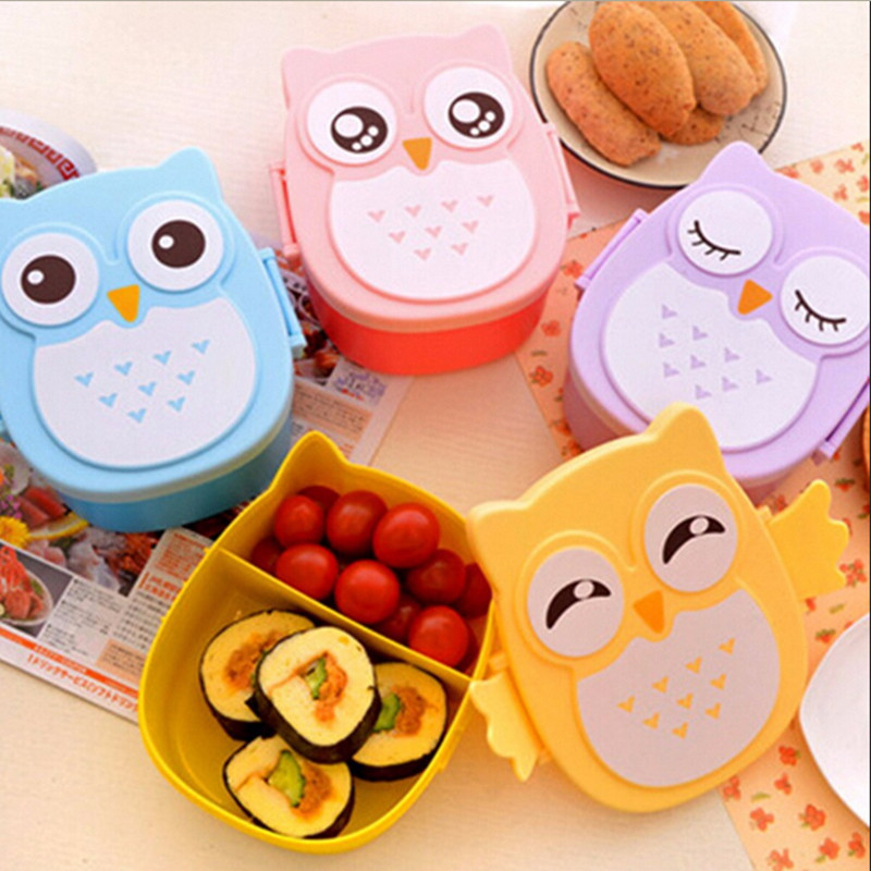Cute Easy-Open Owl Design Lunch Box Kawaii Japanese Food Container Tableware  Bento Box For Kid Children's Birthday Gift
