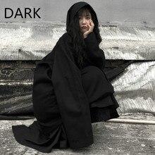 Autumn And Winter Korean Version Of Ins Harajuku Dark Bf Hong Kong Style Loose Mid-length Hooded Win