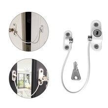 Child Window Restrictor Security Locks Stainless Steel Door Limit Lock Prevent Children From Falling Safety Key