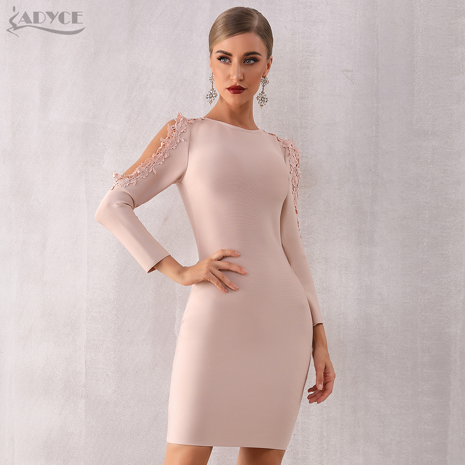 ADYCE 2019 New Winter Women Lace Bandage Dress Vestidos Bodycon Elegant Celebrity Party Dress Sexy Black Long Sleeve Club Dress