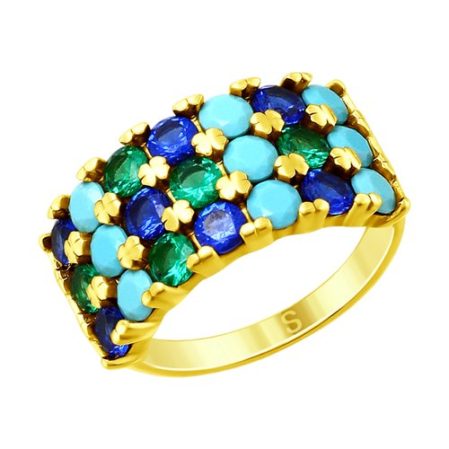 SOKOLOV Ring Gilded With Silver Blue Glass-ceramics And Cubic Zirconia