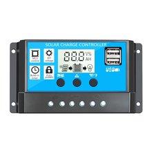 60A/50A/40A/30A/20A/10A Auto de 12V 24V controlador de carga Solar PWM controladores LCD Dual USB salida Panel Solar regulador