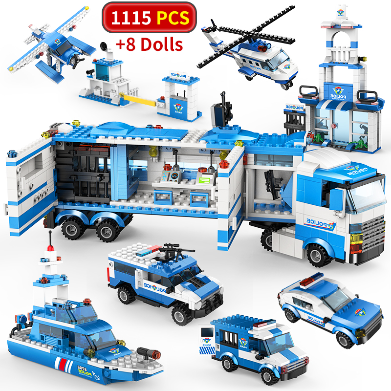 City Police Station Truck SWAT Building Blocks Car Helicopter City House Truck Block Montessori Bricks Toys For Children Boys