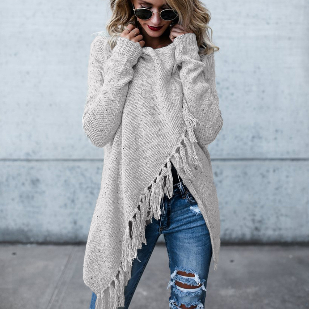 Women Poncho Fall Tassels Slash Gradient Shawl Hem Fringe Loose Sweater Cardigans Women 2019 Winter Tops Knitted Sweater C3098