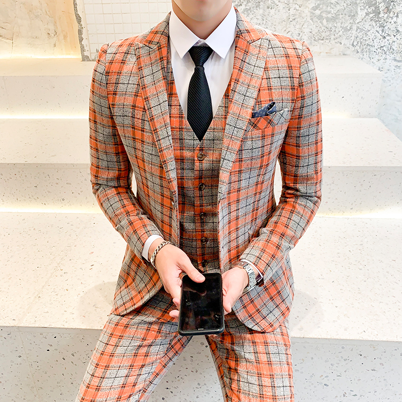 Two Splits Mens Plaid Suits Classic Wedding Suit For Men 2019 High Quality Men's Suits Formal 5XL Prom Party Costume Homme Q333