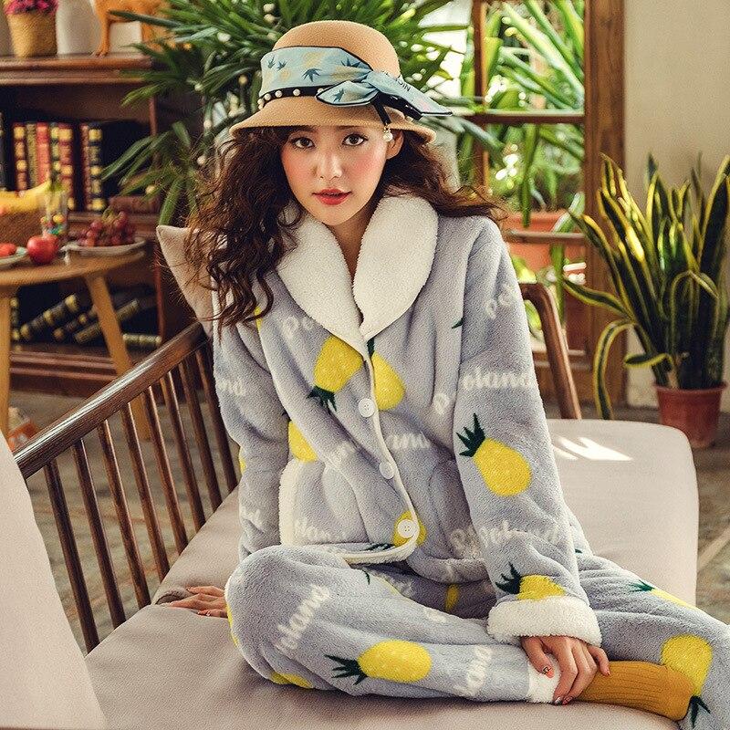 Femmes hiver mode pyjama ensemble corail polaire épais chaud femmes revers à manches longues pyjamas mignon pyjamas motif flanelle pyjamas