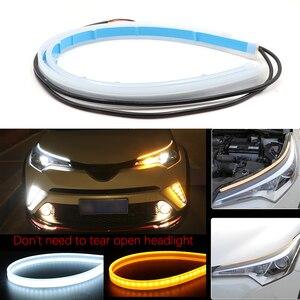 Пара 60 см Янтарный гибкий светодиодный DRL светодиодные ленты Автомобильные фары дневного света для вождения белым светом сигнал поворота ж...