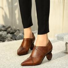 Handmade Genuine Leather Pumps Retro Pointed Toe Women Shoes Block Heels Slip On Office Shoes Brown/Camel