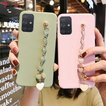 Rosa Edelstein Armband Silikon Fall Für Samsung Galaxy A51 A71 A11 A21 A21S A31 A41 A01 A10 A20 A30 A40 a50 A70 A80 A20E Abdeckung