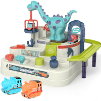 Juego de tren de grúa de dinosaurio para niños, juguete educativo Manual de aventura, regalo de cumpleaños