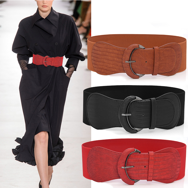 Plus Size Belt Wide Big Fashion Elastic Designer Belts Women High Quality Corset For Dress Coat Luxury Black Red Grosse Woman