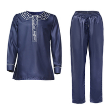 African Men Outfit Dashiki Ankara Bazin 2pieces-Set New MD Shirt PH8086 Pants Embroidery