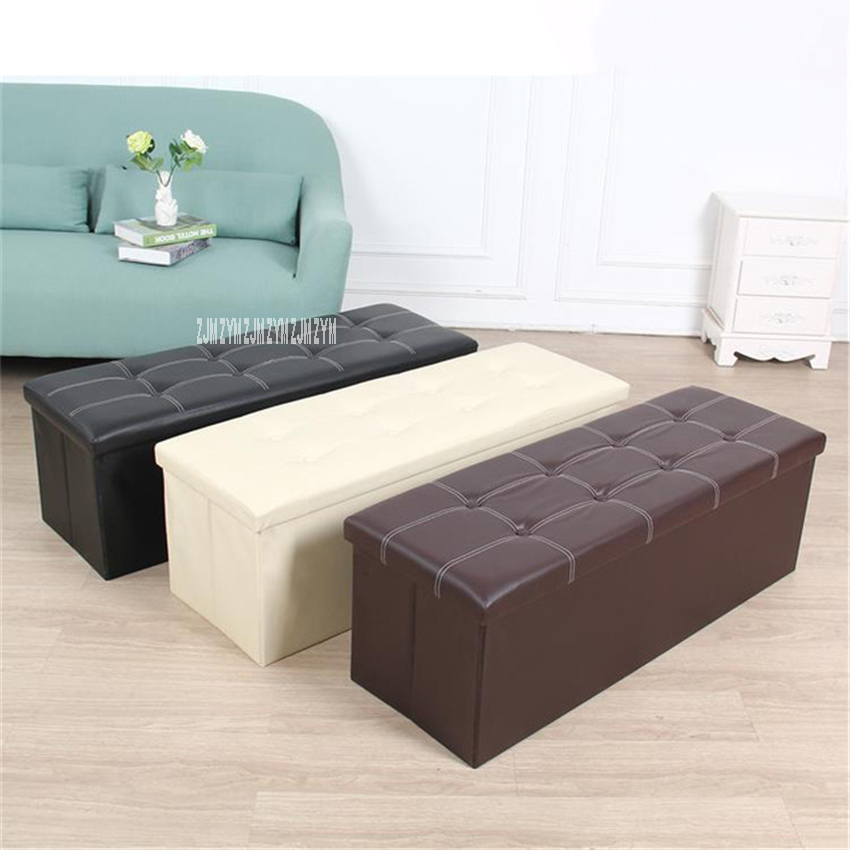 10066 PU Leather Density Board Foldable Storage Stool European Style Storage Footstool Shoe Changing Bench Fitting Room Stool
