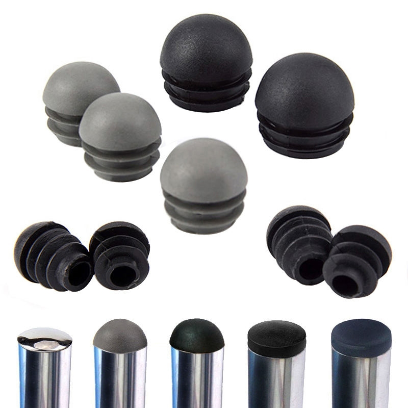 Plastic Tube Insert Plug 16-50mm Round Steel Pipe End Blanking Caps Non Slip Furniture Leg Decorative Dust Cover Floor Protector