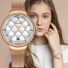 купить SUNKTA Women Watch Luxury Crystal Watch Women Waterproof Rose Gold Steel Strap Ladies WristWatches Top Brand Bracelet Clock+Box дешево