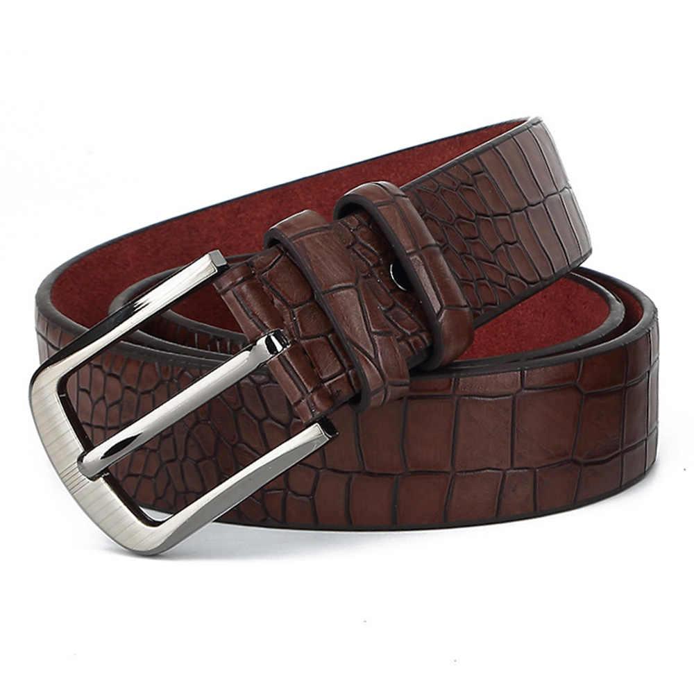Hidup Gaya Retro Desain Pin Gesper Logam Sabuk Buaya Pola Asli Leather Belt untuk Pria 38 Mm Aksesoris Pakaian NWJ691
