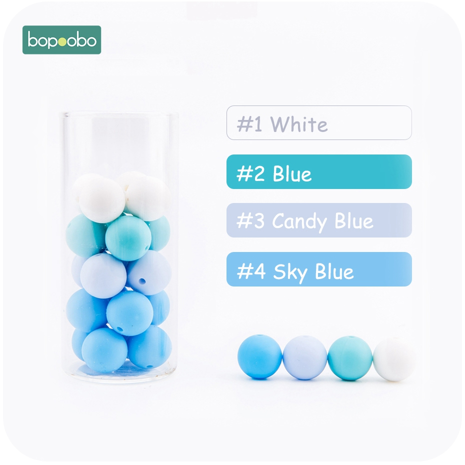 Bopoobo 100PC Silicone Beads 15mm DIY Starter Kits Strengthening Tooth Training Silicone Beads Baby Accessories Non-toxic
