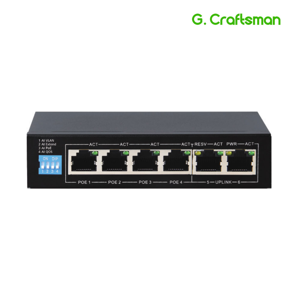 G.Craftsman Full Gigabit 4 Port Poe Switch Support IEEE802.3af/at For CCTV 5MP 8MP IP Camera Wireless AP 10/100/1000Mbps 6 Port