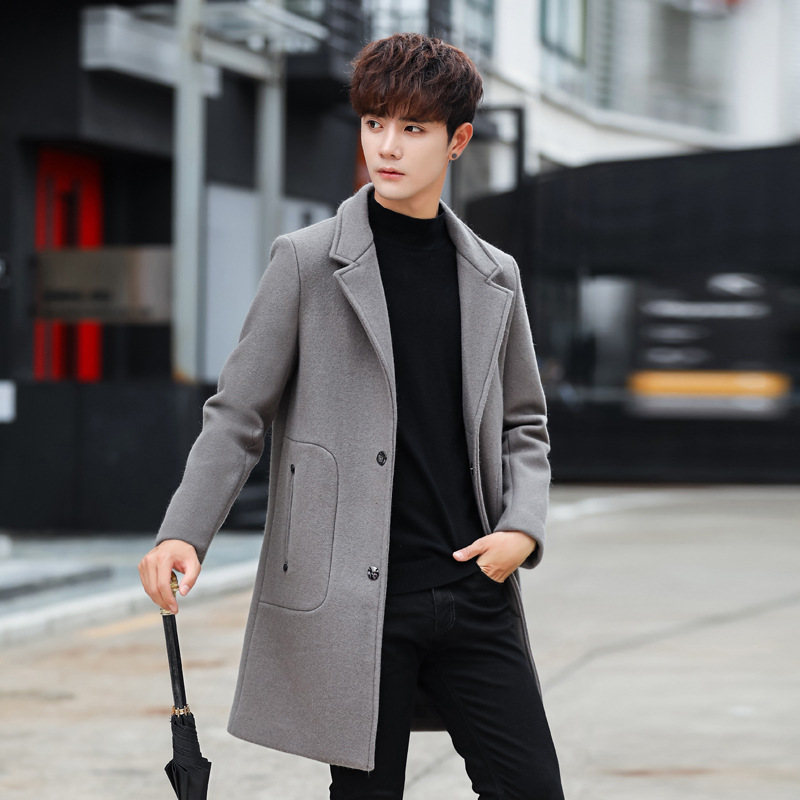 Korean Men's Coat Long Woolen Coat Man Jacket Black Single Breasted Mens Coats Overcoats Abrigo Hombre Invierno KJ256
