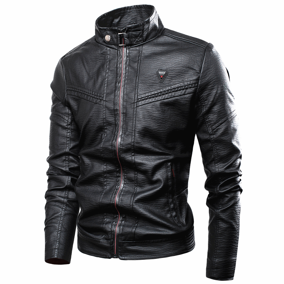 Men Winter New Vintage Punk Casual Style Fleece Leather Jackets Coat Men Outwear Fashion Motor & Biker Faux Leather Jacket Men