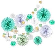 LOYPA 17PCS Mint Green Paper Decoration Set Glitter Circle Garland Assorted Fans Kids Birthday Party Wedding Shower Decor