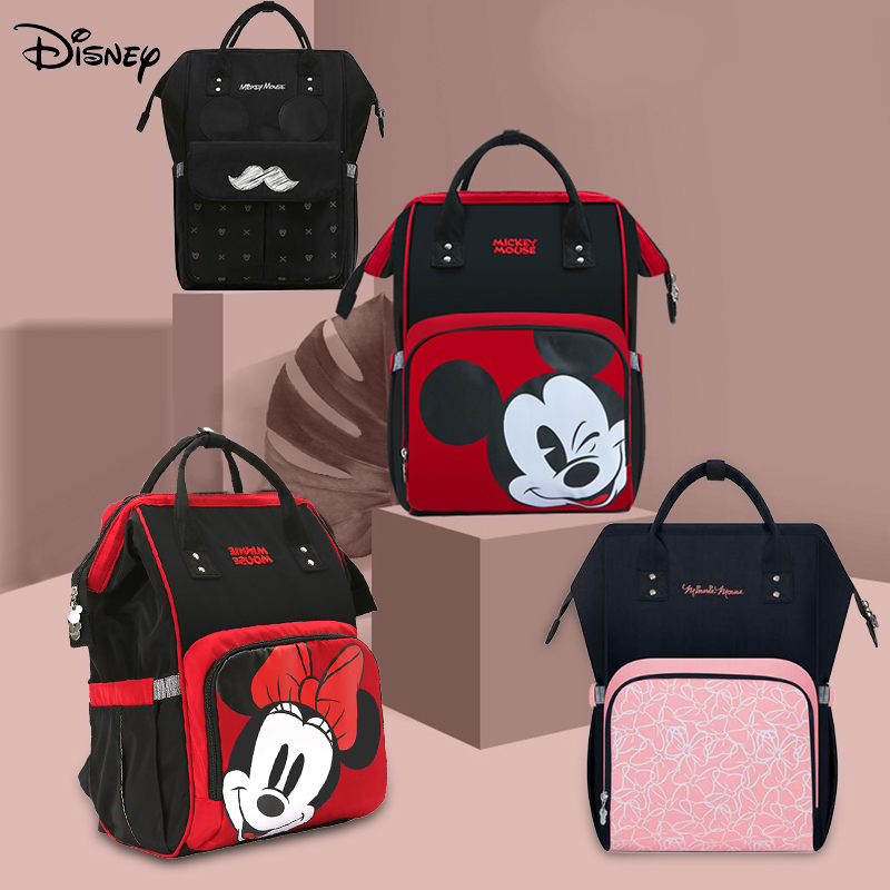 Disney Cute Minnie Mickey Red Diaper Bag Mummy Bag Backpack Large Waterproof Baby Nappy Bag Maternity Striped Bow Dot Pattern