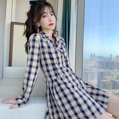 2020 Fashion Autumn Women's Dress Plaid Blazer Long Blazers Women Ladies Office Coats Double Breasted Retro Blazer Feminino