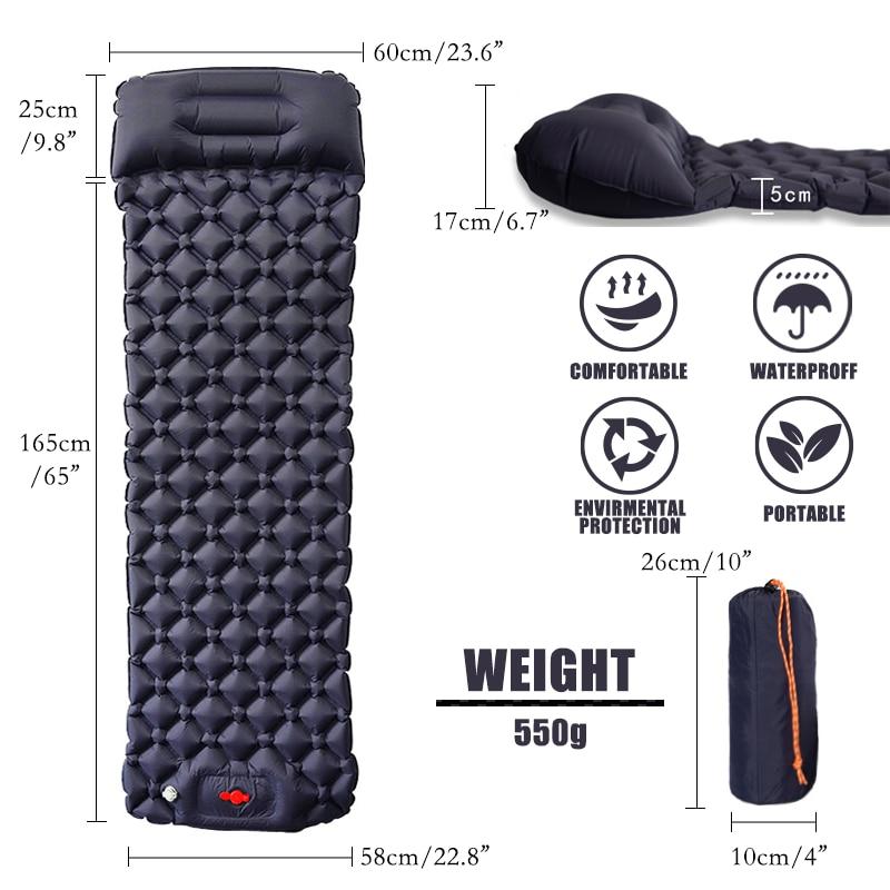 Matelas gonflable ultraléger avec coussin d'air, matelas d'extérieur pour Camping, voyage, randonnée et Trekking