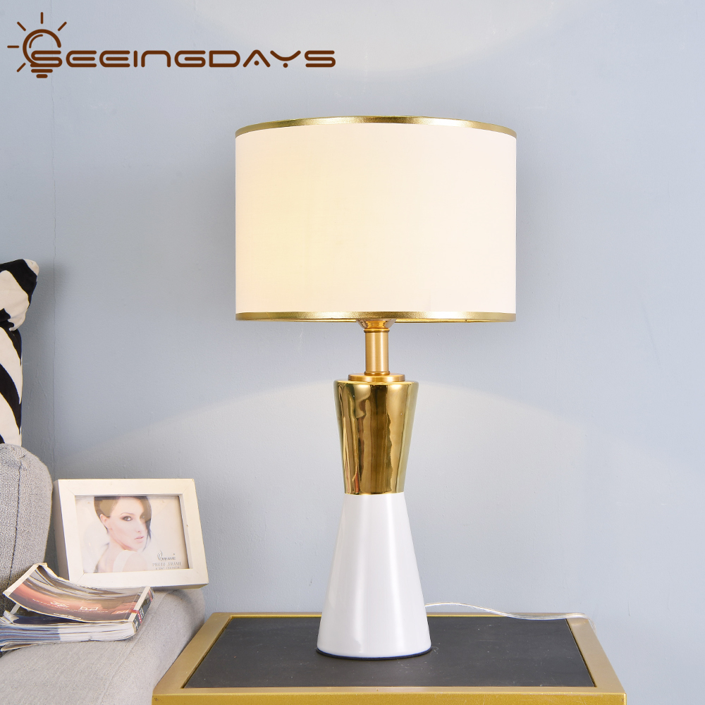 Luxuriou Golden And White Conical Ceramic Table Lamp Led Bedside Lamp Bedroom Lamp 220v 110v Black White Lampshade Home Decor Led Table Lamps Aliexpress