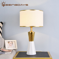 Luxuriou Golden And White Conical Ceramic Table Lamp Led Bedside Lamp Bedroom Lamp 220v 110v Black White Lampshade Home Decor