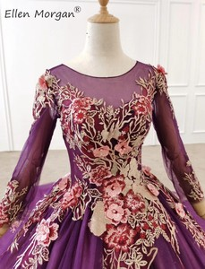 Image 5 - Purple Long Sleeves Ball Gowns Evening Dresses 2020 for Women Wear Colorful Lace Crystals Vintage Muslim Engagement Event Formal
