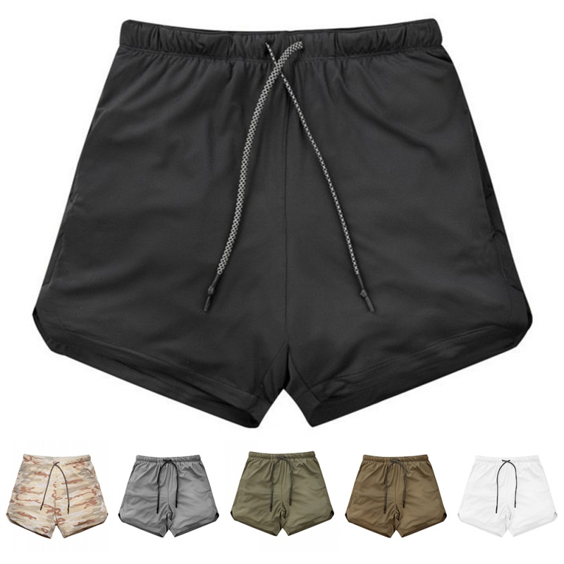 Men Running Shorts Male Double-deck Quick Drying Sports Shorts Large Size Fitness Training Jogging Gym Shorts