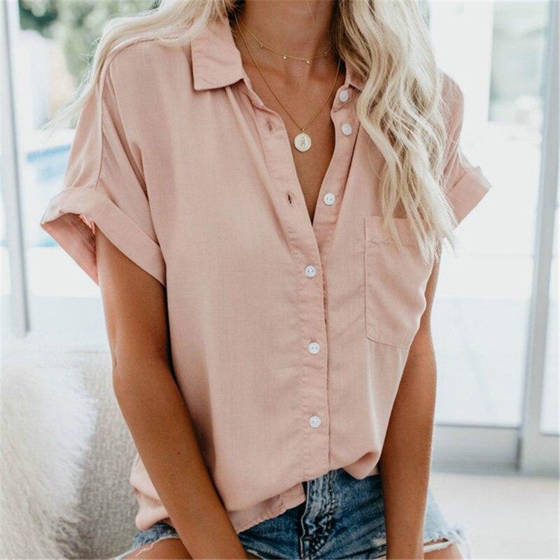 2020 Women's Shirt Summer Women's Blouses Shirt Feminine Blouse Summer Short Sleeve Female Blouse Turn-down Collar Button Shirt
