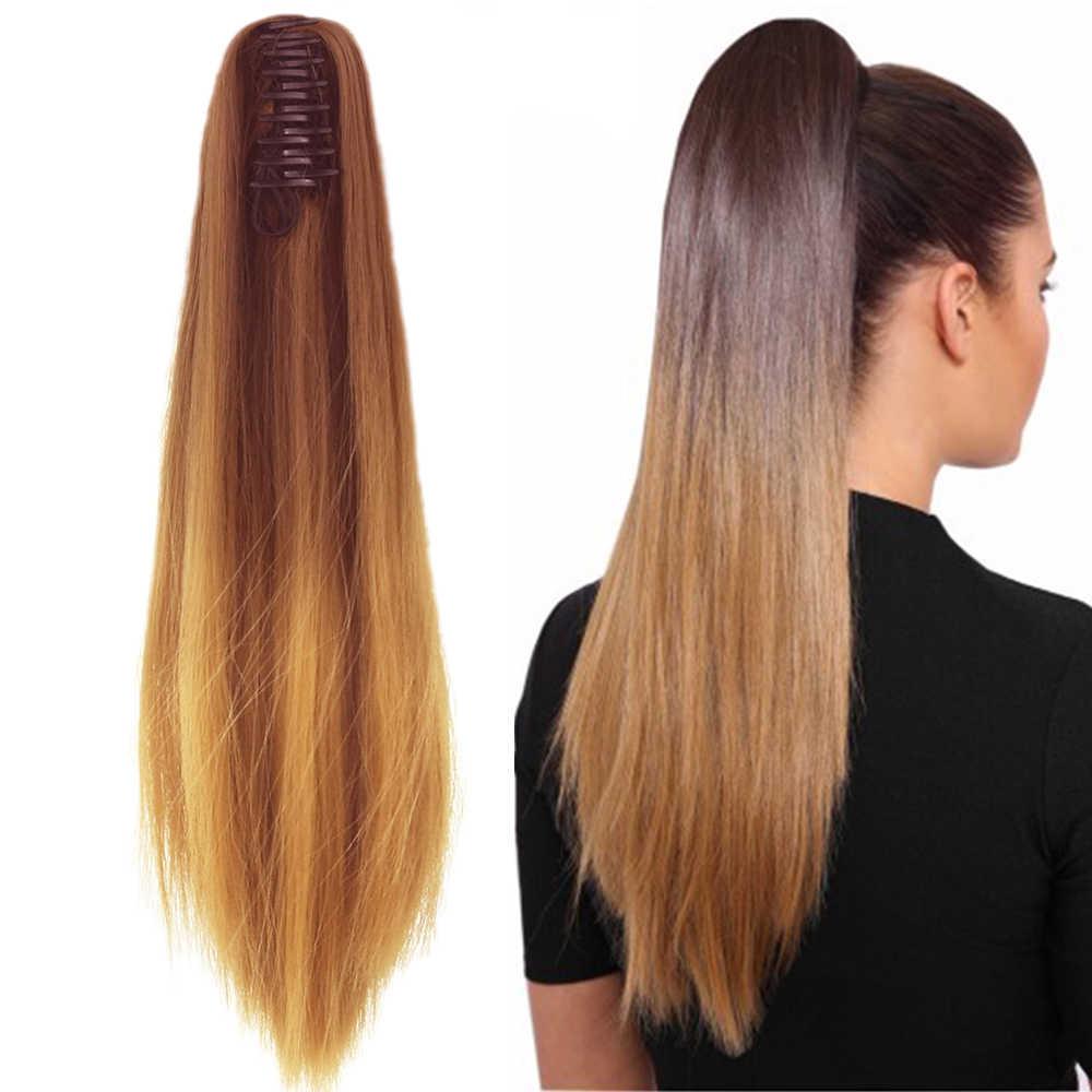 Soowee 24 ''Rambut Sintetis Lurus Klip Di Rambut Ekstensi Coklat Abu-abu Cakar Ekor Kuda Serat Suhu Tinggi Hairpieces Ekor Kuda