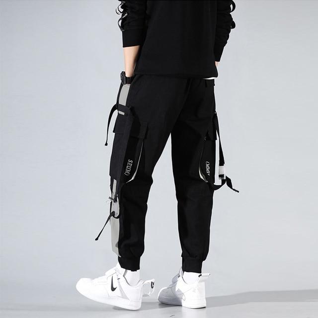 Men Cargo Harem Jogger Pants Men Hip Hop Fashion Casual Track Trousers Streetwear Harajuku Hipster Ribbon Pockets Sweatpants Men 3