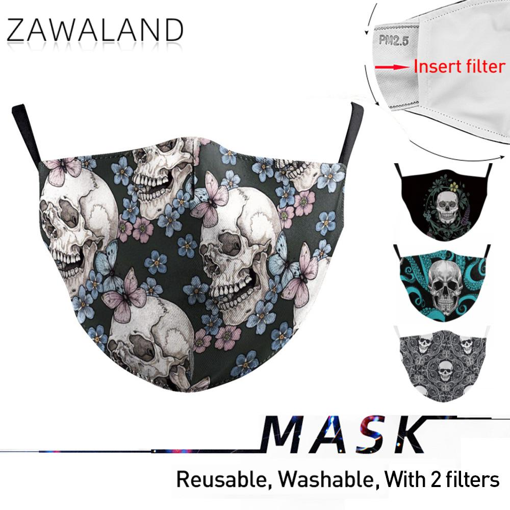 Zawaland Washable Fabric Mask Reusable Mouth-Muffle Skull Head Printed Face Mask Outdoor Protective PM2.5 Mouth Mask With Filter