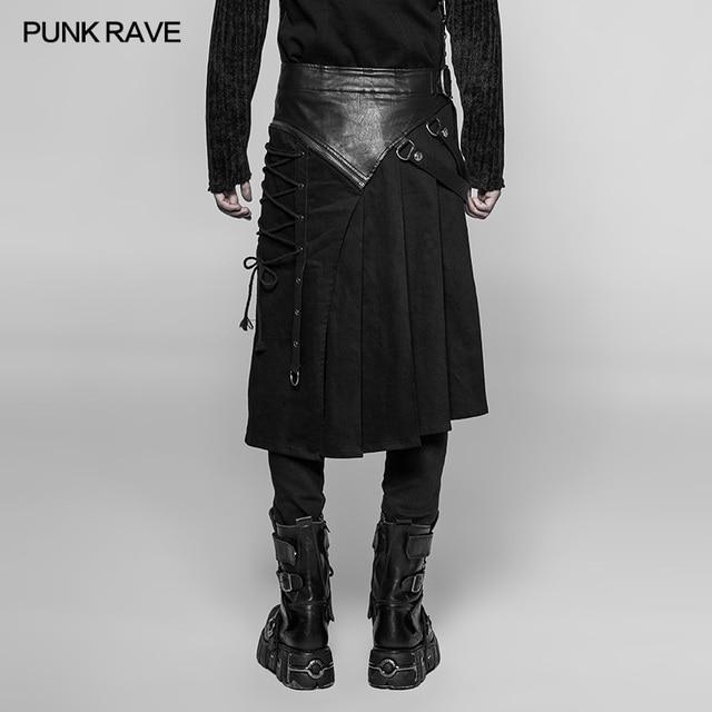PUNK RAVE Gothic Steampunk Men Skirt Vintage Japanese Removable Cosplay Men's Half Skirt Pants 3