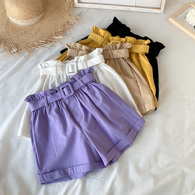 Elegant Cotton Shorts womens 2021 Summer New Wild Leisure Bead Bud Wide Leg shorts High Waist Slimming Shorts with a Belt 2