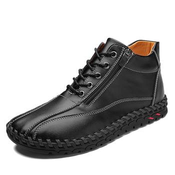 Męskie buty zimowe buty z prawdziwej skóry pluszowe ciepłe buty na śnieg na zewnątrz wygodne męskie buty motocyklowe wysokie buty męskie 38-48 tanie i dobre opinie siddons Podstawowe CN (pochodzenie) Skóra Split ANKLE Stałe Okrągły nosek RUBBER Wiosna jesień Niska (1 cm-3 cm) 7044