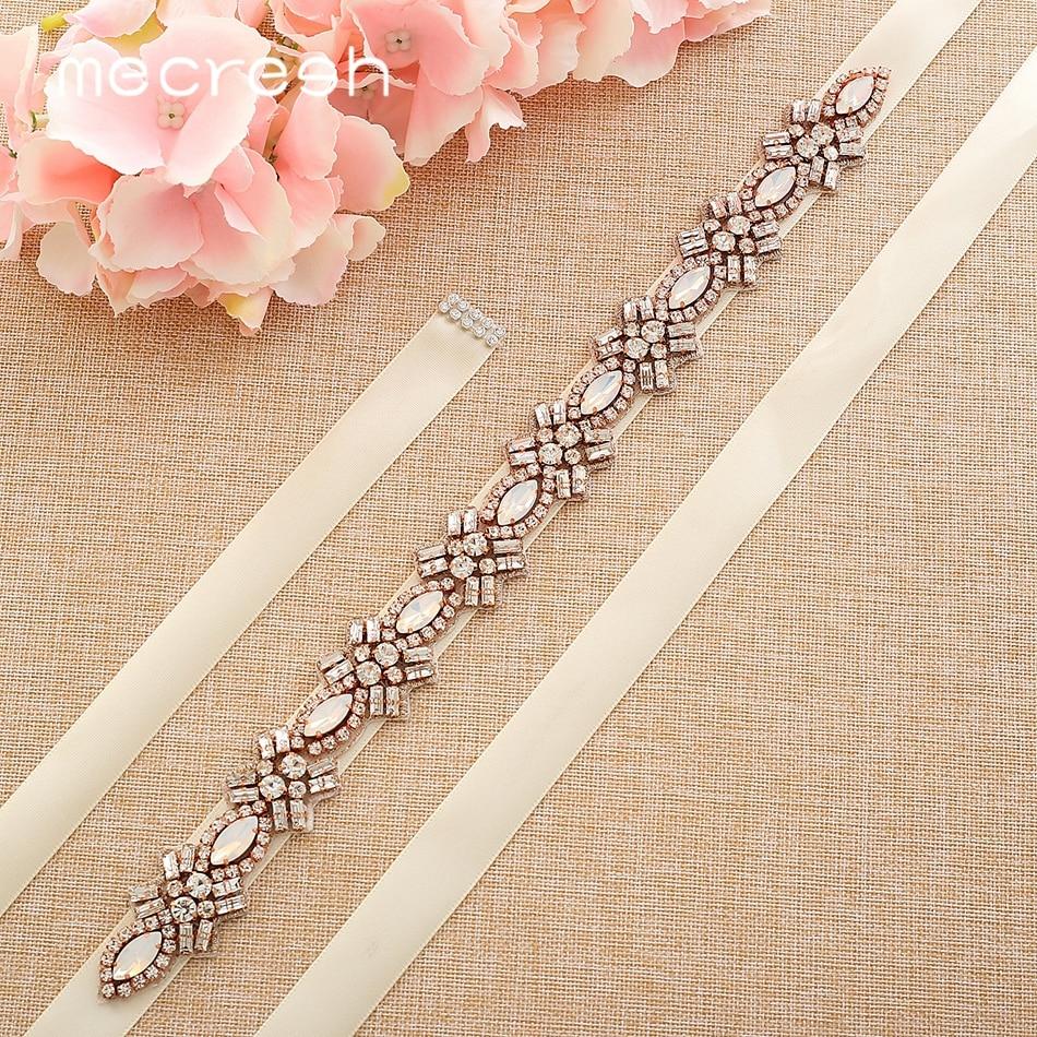 Mecresh Handmade Geometric Wedding Belt For Women Dress Cute Rhinestone Crystal Leaf Flower Ivory Pink Black Bridal Belt MYD039